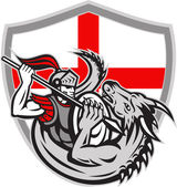 English Knight Fighting Dragon England Flag Shield Retro