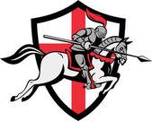 English Knight Riding Horse England Flag Retro