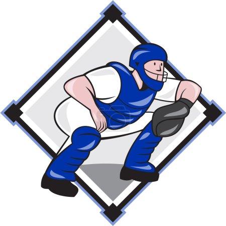 Baseball Catcher Catching Side Diamond Cartoon