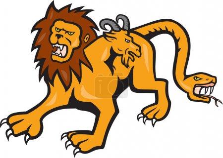 Illustration pour Illustration d'une chimère, une créature mythique de la mythologie grecque, représentée comme un lion, avec la tête d'une chèvre découlant de son dos et une queue qui se termine en tête d'un serpent vu d'avant fait dans le style de dessin animé sur fond isolé. - image libre de droit