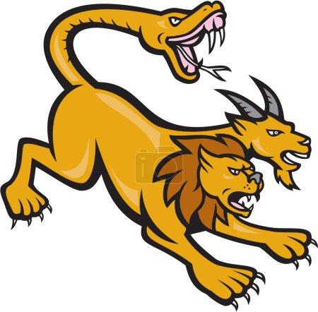Illustration pour Illustration d'une chimère, une créature mythique de la mythologie grecque, représentée comme un lion, avec la tête d'une chèvre découlant de son dos et une queue qui se termine en tête d'un serpent vu de fait dans le style de dessin animé sur fond isolé. - image libre de droit