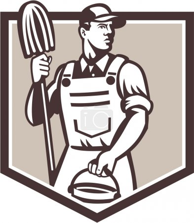 Illustration pour Illustration d'un employé de nettoyage de concierge tenant la serpillière et seau à eau seau vu sous un angle bas mis à l'intérieur du bouclier fait dans un style rétro . - image libre de droit