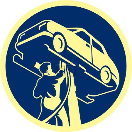 Illustration pour Illustration d'un mécanicien automobile réparant un véhicule automobile placé à l'intérieur du cercle fait dans un style rétro. - image libre de droit