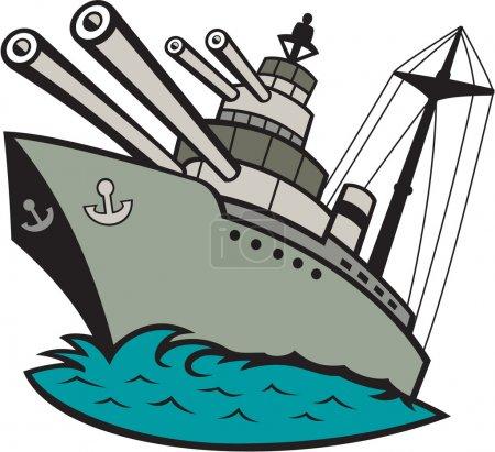 World War Two Battleship Cartoon