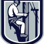 Постер, плакат: Power Lineman Telephone Repairman Electrician Retro
