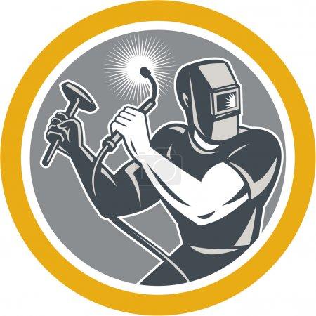 Illustration pour Illustration du soudeur travaillant à l'aide d'une torche de soudage tenant marteau vu de l'avant mis à l'intérieur cercle sur fond isolé fait dans un style rétro . - image libre de droit