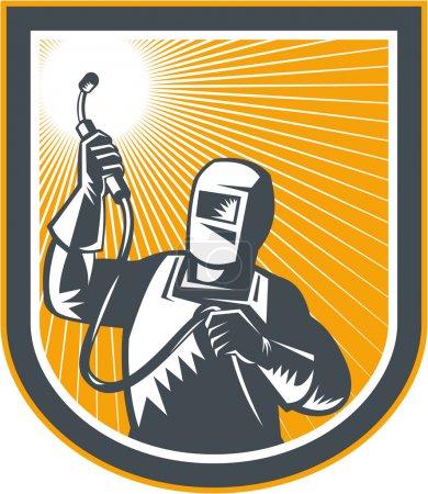 Illustration pour Illustration de soudeur manufacturier travailleur tenant la torche de soudage vue de l'avant mis à l'intérieur du bouclier sur fond isolé fait dans le style rétro . - image libre de droit