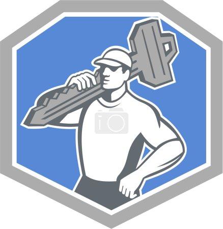 Illustration pour Illustration d'un serrurier debout vue de face portant la clé sur l'épaule fixé à l'intérieur écusson de bouclier sur fond isolé fait dans le style rétro - image libre de droit