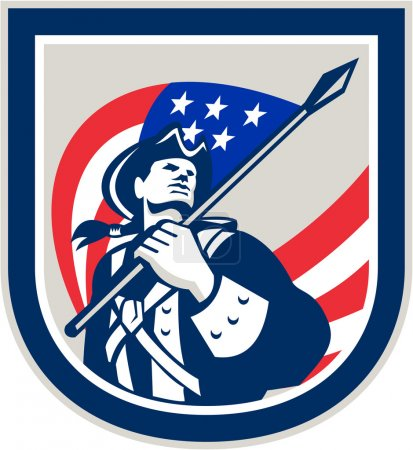 American Patriot Holding USA Flag Look Up Crest