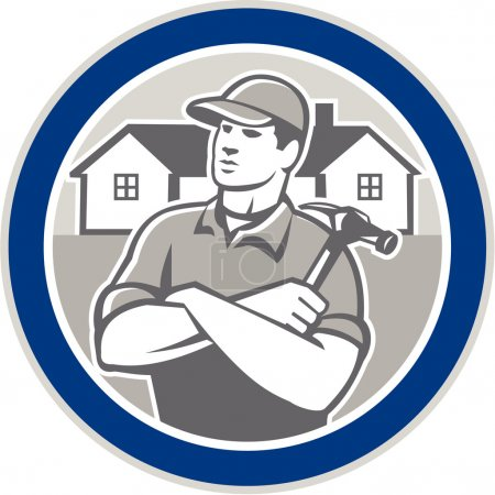 Illustration pour Illustration d'un charpentier tenant un marteau avec des maisons résidentielles situées à l'intérieur du cercle sur fond isolé - image libre de droit