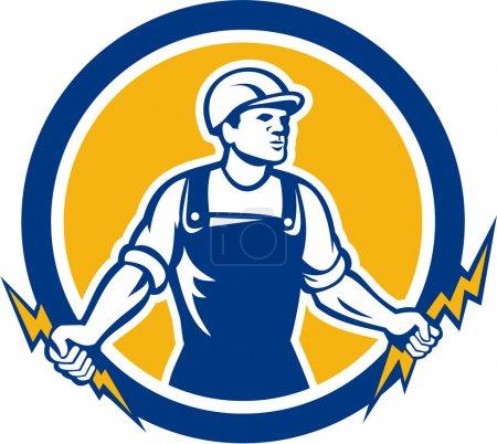Illustration pour Illustration d'un ouvrier de la construction électricien tenant deux éclairs placés à l'intérieur d'un cercle fait dans un style rétro sur fond blanc isolé . - image libre de droit