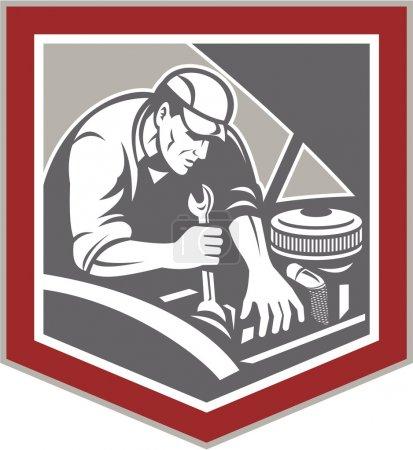 Illustration pour Illustration d'un mécanicien automobile réparant un véhicule automobile à l'aide d'une clé à molette placée à l'intérieur de la forme de la crête du bouclier, réalisée dans un style rétro gravé sur bois . - image libre de droit