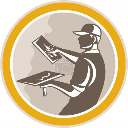 Illustration pour Illustration d'un ouvrier de la construction en maçonnerie de plâtre avec truelle réalisée dans un style rétro gravé sur bois placé à l'intérieur du cercle sur fond isolé , - image libre de droit