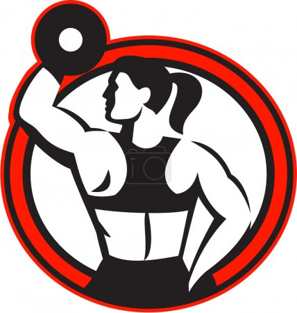 Illustration for Illustration of a female athlete muscle-up lifting dumbbell facing side set inside circle shape done in retro style on isolated white background - Royalty Free Image