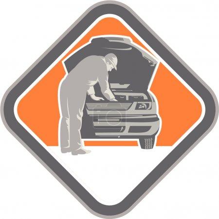Illustration pour Illustration d'un mécanicien automobile réparant un véhicule automobile vu de l'avant serti à l'intérieur de la forme de diamant fait dans un style de gravure sur bois rétro . - image libre de droit