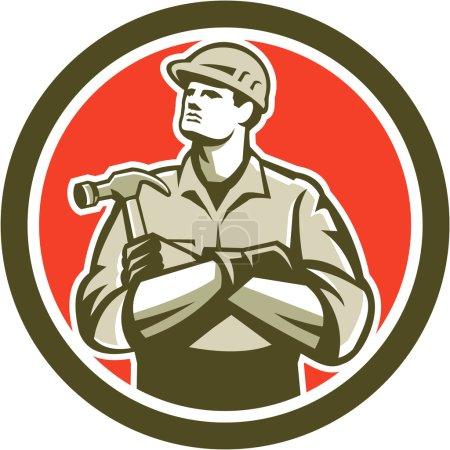 Illustration pour Illustration d'un charpentier avec bras croisés tenant un marteau placé à l'intérieur d'un cercle de forme ronde sur fond isolé - image libre de droit