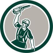Arborist Holding Up Chainsaw Circle Retro