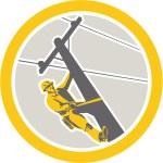 Постер, плакат: Power Lineman Repairman Climbing Pole Circle