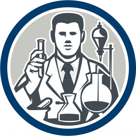 Illustration pour Illustration d'un chercheur scientifique de laboratoire chimiste tenant un tube à essai avec des flacons orientés vers l'avant placés à l'intérieur du cercle sur un fond isolé fait dans un style rétro . - image libre de droit