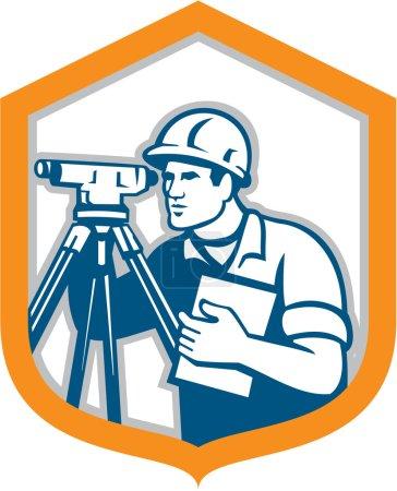 Surveyor Geodetic Engineer Survey Theodolite Shield Retro