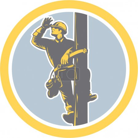 Illustration pour Illustration d'un réparateur de ligne de puissance téléphone électricien travailleur grimpant poteau électrique à la recherche saluant ensemble à l'intérieur du cercle sur fond isolé fait dans un style rétro . - image libre de droit