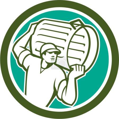 Illustration pour Illustration d'un collecteur d'ordures transportant des ordures ménagères regardant vers le côté mis en forme de cercle intérieur sur fond isolé fait dans un style rétro . - image libre de droit