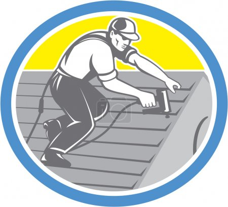 Roofer Roofing Worker Circle Retro