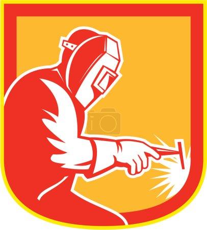 Illustration pour Illustration du soudeur travaillant tenant la torche de soudage vue du côté fixé à l'intérieur de la crête du bouclier sur fond isolé fait dans un style rétro . - image libre de droit