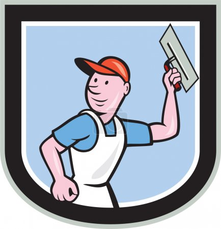 Illustration for Illustration of a plasterer masonry tradesman construction worker with trowel set inside shield crest done in cartoon style on isolated background. - Royalty Free Image