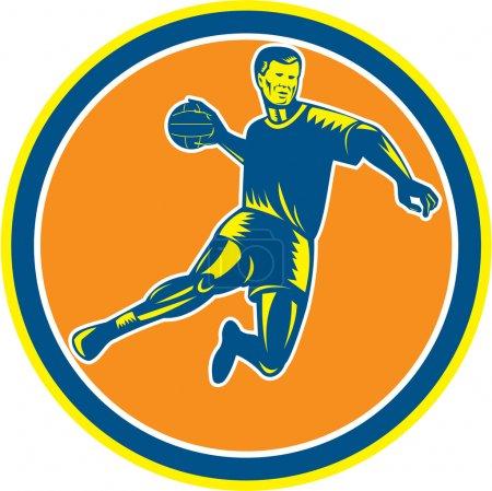 Handball Player Jumping Throwing Ball Circle Woodcut
