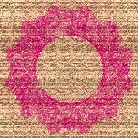 Photo pour Décoration florale ronde rose sur carte d'invitation. Cadre de Magenta Lotus Flower Illustration - image libre de droit