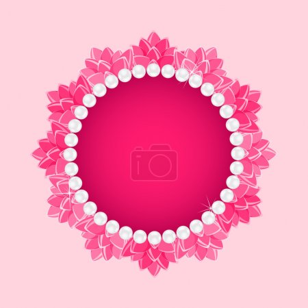 Lotus Round Frame with Pearl Necklace
