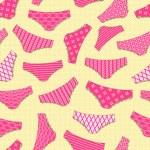 Pink Underwear on Yellow Background. Vintage Panty...