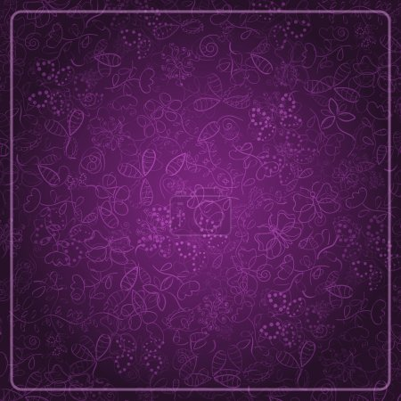 Illustration for Abstract Dark Purple Card with Doodle Background. Vector Design Illustration - Royalty Free Image