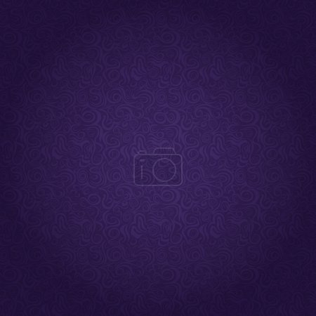 Illustration for Dark Purple Seamless Pattern with Abstract Curly Elements. Vector Illustration - Royalty Free Image
