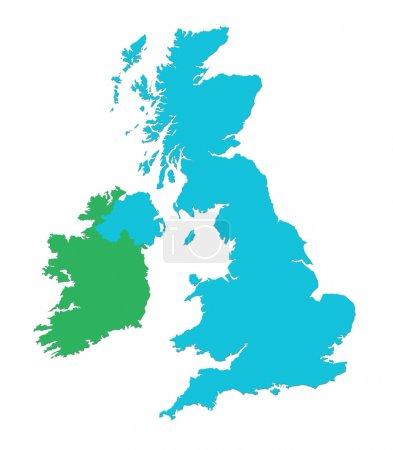 Photo pour Carte muette du Royaume-Uni et en Irlande sur fond blanc - image libre de droit