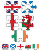Five jigsaw pieces filled with national flags of UK and Ireland