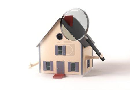 Photo pour Image d'une maison tenant une loupe isolée sur fond blanc . - image libre de droit