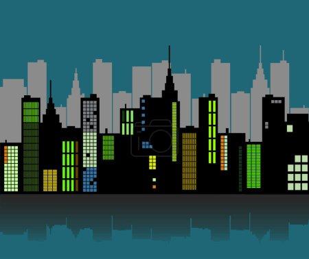 Photo pour Image d'un horizon urbain rétro coloré contre un ciel nocturne . - image libre de droit