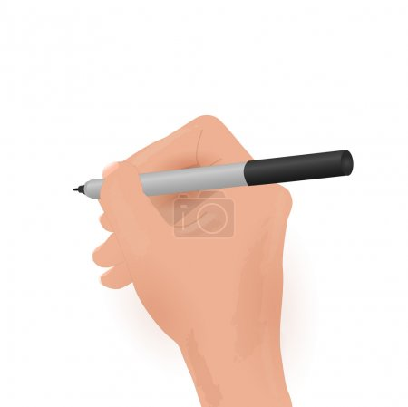 Illustration for Illustration of a hand holding a marker isolated on a white background. - Royalty Free Image