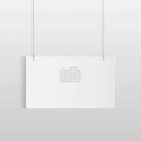 Illustration of a white hanging sign isolated on a...