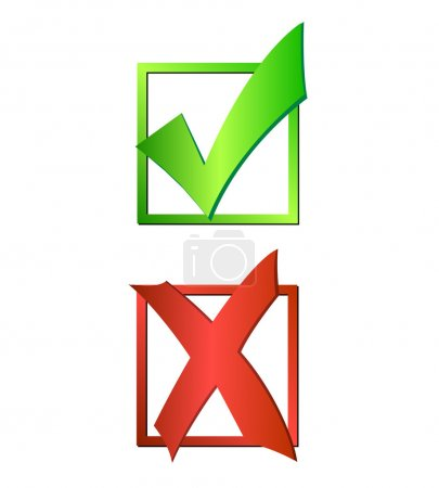 Illustration of a green checkmark and red X isolat...