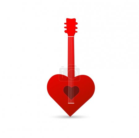 Illustration of a heart guitar isolated on a white...