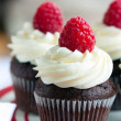 Chocolate cupcakes decorated with raspberries and ...