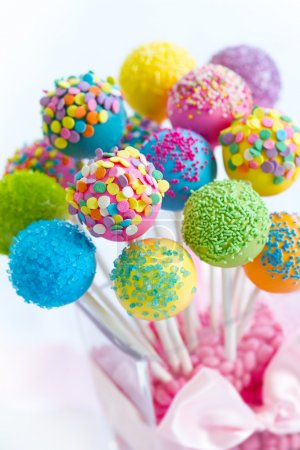 Photo for Assortment of brightly colored cake pops - Royalty Free Image