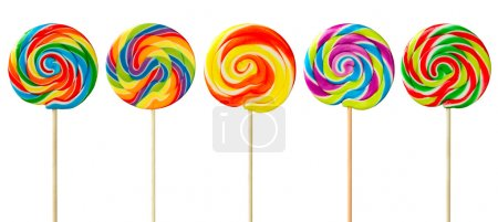 Photo for Row of colorful lollipops against white - Royalty Free Image