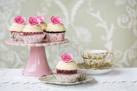 Afternoon tea with rose cupcakes