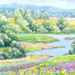 Watercolor landscape. Summer sunny day. Meandering...