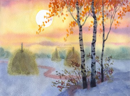 Watercolor landscape. A quiet winter night in a fi...