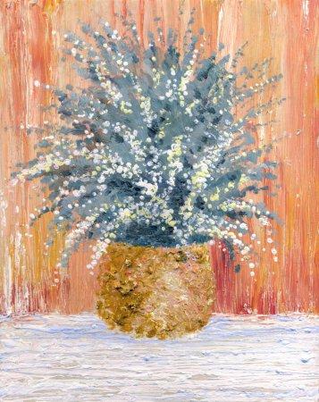 Still life oil. Sleek bouquet of delicate flowers in a round vas